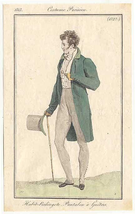 Journal des Dames et des Modes, 1813.  That collar…that hat…those CALVES.  Pant pant pant…