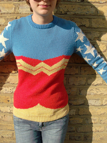 zombiemiko:  The Wonder Woman Jumper This is wonderful~ But woe is me, I don't know intarsia! Recipe for knitting it.
