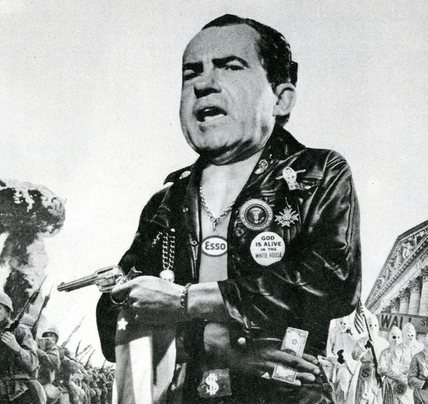 God Is Alive In The White House Nixon photomontage by Christer Themptander for Liberation News Service (1972)