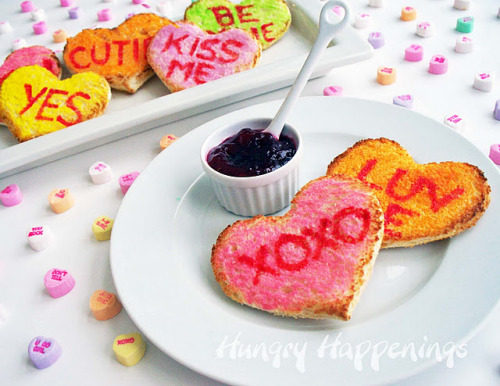 gastrogirl:  conversation heart toast for a valentine's day breakfast.