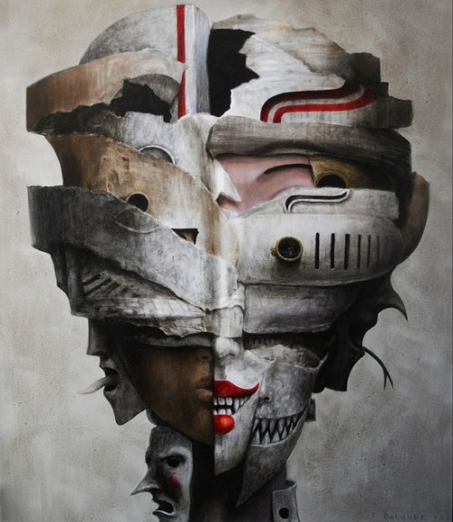 darksilenceinsuburbia:  Fabien Delaube. Masks. Oil on canvas. http://www.fdelaube.com/index.php