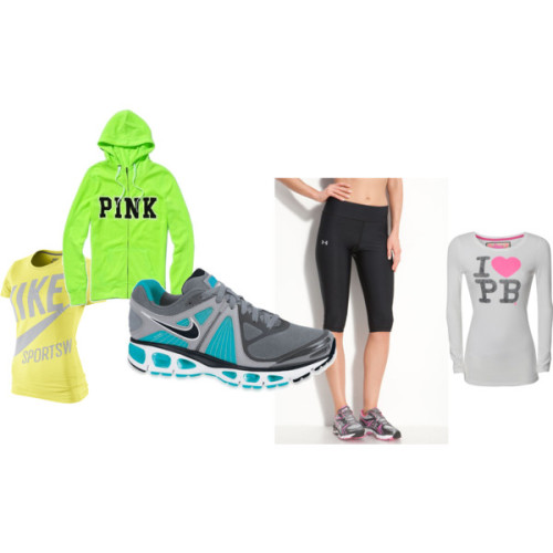 Workout by whatitfeelslike4agurl featuring nike shoesVictoria s Secret graphic hoody, $45Paul s Boutique t shirt, £30NIKE screen printed t shirt, $16Under Armour capri activewear, $38Nike shoes, $100