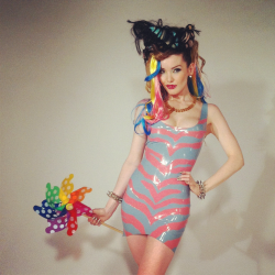 Twisted My Little Pony!!! Cute preview from yesterday's shoot, taken on set by Sammm!   Dress by Kaori's Latex Dreams, hair and make up by the awesome Sammm Agnew.  Styling by Sammm and me!