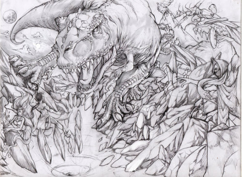 Dino Attack sketch by ~Devoratus sckaetch de una ilustracion que estoy coloreado dentor de poco un wip