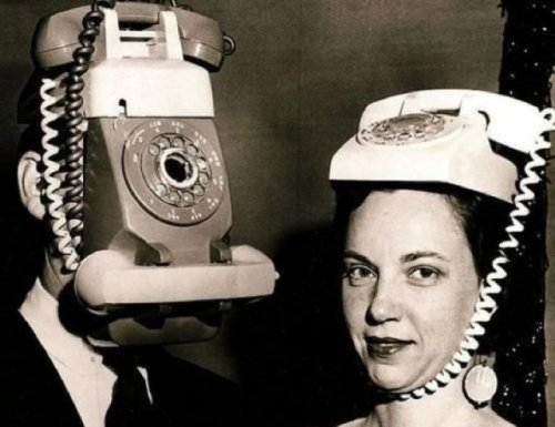 Old Fashioned Phone Couple   They'd ask their grandchildren how to wear iPhones as hats, but they died ten years ago.