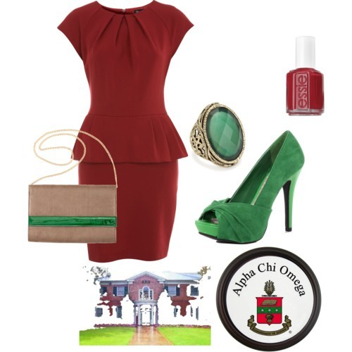 Alpha Chi Omega by fashionista160 featuring an oval ring Miss Selfridge pencil dress, £42Dorothy Perkins platform heels, $69H M leather clutch, £13Oval ring, $72Essie Nail Polish - Reds Forever Young ( C ) 0.5 oz, $8