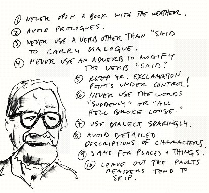 "scribnerbooks:   annadevries:  cmasonwells:  Elmore Leonard's 10 rules of writing, via The Trad  Know them. Love them.  Amen.     I remember reading this right before reading the 5th Frank Herbert Dune novel. The thing I noticed most was number 3 — Herbert used ""said"", if he used anything at all.  As for #4, I got dinged for that when I submitted my novel the first time around.  And #8 is the pitfall of the fanfic writer. And Laurell K. Hamilton. (Sorry, Laurell, but it's true.)"