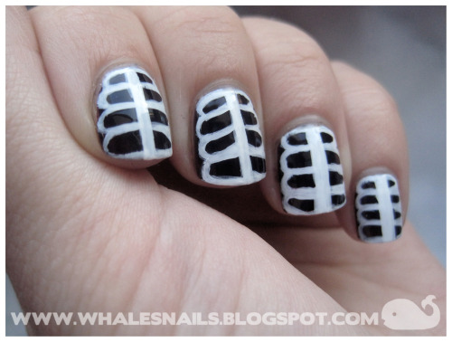 fuckyeahnailart:  (via Whale's Nails: Skeleton Nail Art Tutorial) Click through for a tutorial!