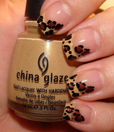 (via one day fashionable / leopard print french manicure)