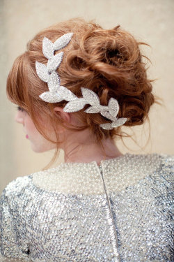 LoBoheme - beaded leaf clip headpiece