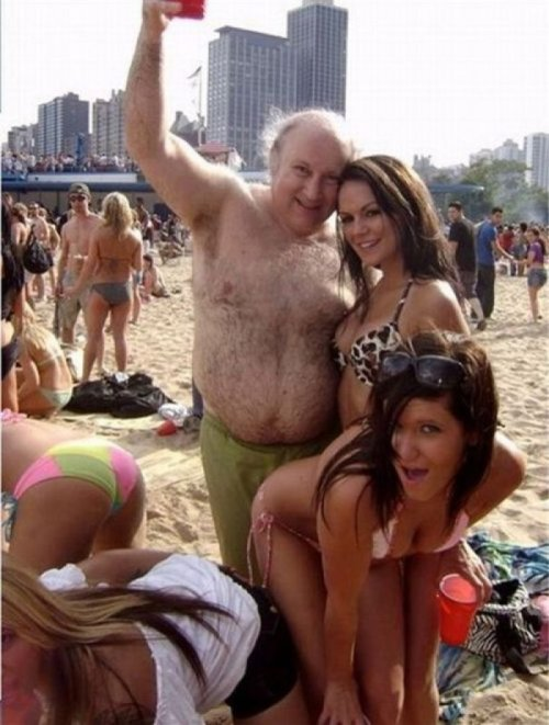 Hairy Old Guy Partying with Babes   Wait until they find out he's not Rich, the Abercrombie model he told them he was.
