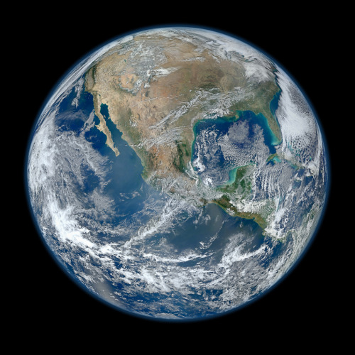smithsonianmag:  The Highest Resolution Image of Earth Ever  This composite image uses a number of swaths of the Earth's surface taken on January 4, 2012.  Photo courtesy of NASA/NOAA/GSFC/Suomi NPP/VIIRS/Norman Kuring Ed note: Perfect for your desktop background. Click the photo for the 8000x8000 image. Check out our article on the previous photo titled The Blue Marble. h/t Gizmodo   I guess you know what those brownish areas are. The devastation is clear: we are turning Earth into a desert.