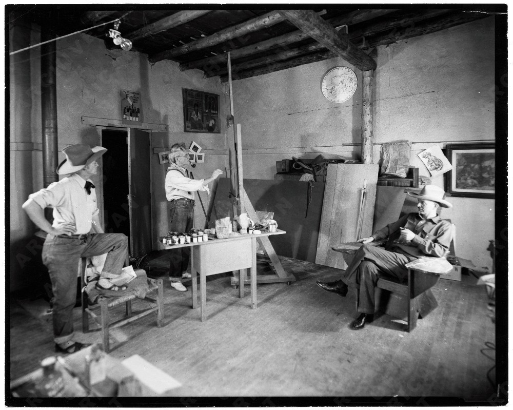 Painters John Sloan, Will Shuster and Josef Bakos in Sloan's studio in Sante Fe, N.M. 1939.   Ernest Knee, photographer.