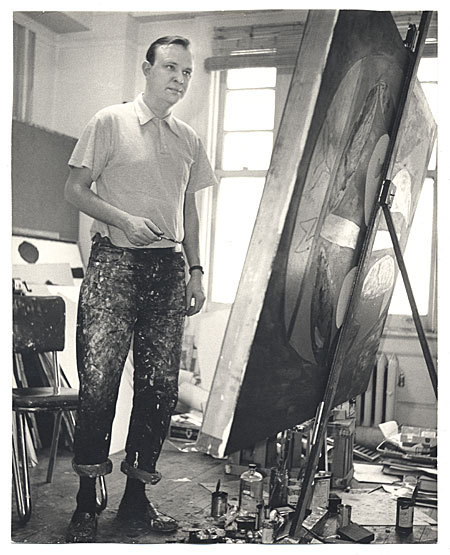 Robert Motherwell at work in his studio, 1952. Kay Bell Reynal, photographer