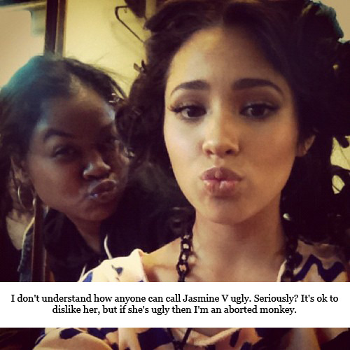 jasminevconfessions:  I don't understand how anyone can call Jasmine V ugly. Seriously? It's ok to dislike her, but if she's ugly then I'm an aborted monkey.