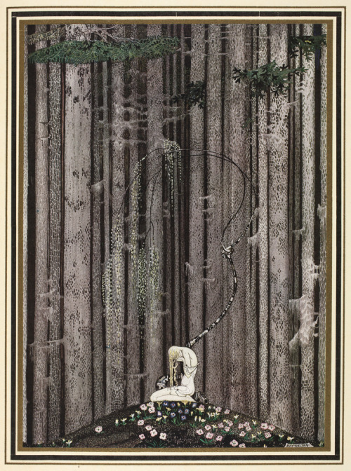 Beautiful illustration by Kay Nielsen - 'And then she lay on a little green patch in the midst of the gloomy thick wood'
