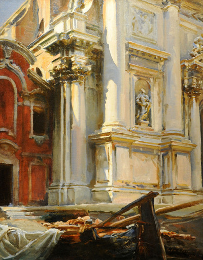 inevitablefragments:  John Singer Sargent - Corner of the Church of San Stae, Venice (1913) oil on canvas  Every stroke is perfect. Because nothing is.