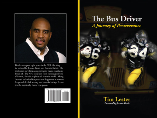 Cover design for former NFL player Tim Lester's autobiography The Bus Driver.