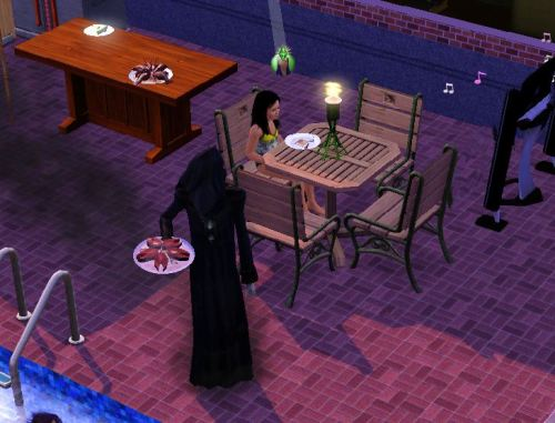 juliasegal:  simsgonewrong:   My kid was having a pool party and the Grim reaper showed up and took the whole plate of grilled salmon   rude