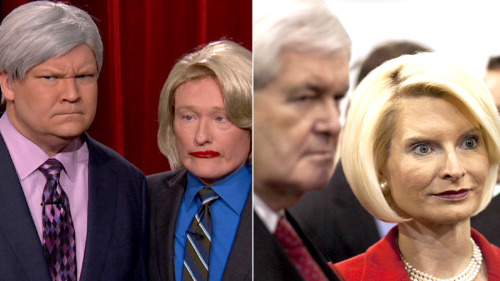 teamcoco:  Conan and Andy are dead ringers for Newt and Calista Gingrich. [more photos]