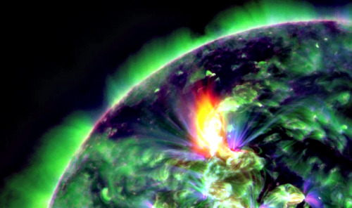 the sun erupted late on Jan. 22, 2012 with an earth-directed coronal mass ejection (CME) and a burst of fast moving, highly energetic protons.