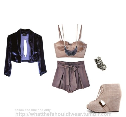 BUSTIER: ShakuhachiNECKLACE: AcademySHORTS: LoverRING: LowLuvJACKET: Lindsey ThornburgSHOES: Jeffrey Campbell