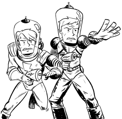 "thechrishaleycoloringbook:  Here I have drawn FUTURE VERSIONS of ""Curt"" and ""Chris"" from the webcomic ""Let's Be Friends Again"" for you to color! These dudes are looking like the future is mega-serious. You can print this out (full-sizes here) and color it with crayons or on the computer all fancy like if that's your thing. Either way is totally fine with me, just be sure to let me know how it turns out by giving me a shout on Twitter or dropping it in the Submissions Box! As always, sharing is caring, so if you like this or think other people you know might like to color it, reblog it or print it out and give it to them. xoch"