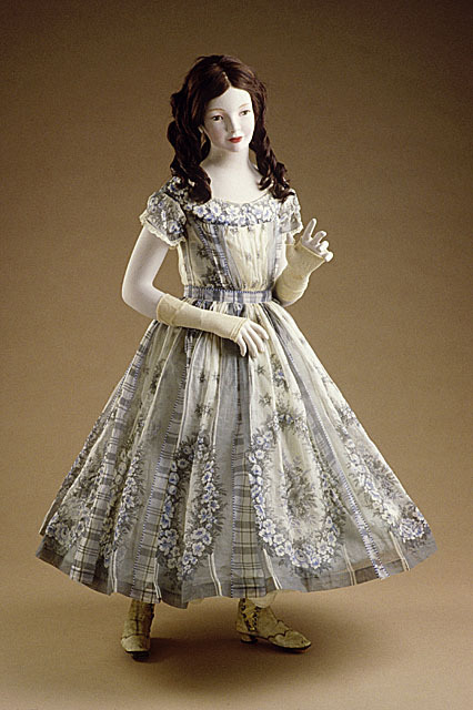 A lovely girl's English organdy dress, which would most likely have been a summer party dress, circa 1860.