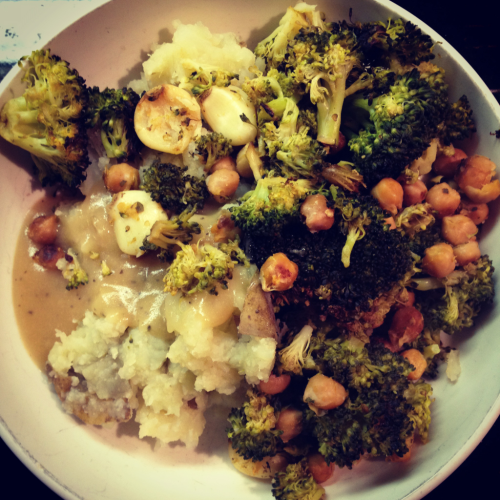 caulipots with 40 clove chickpeas and broccoli. 2 of my favorite recipes from appetite for reduction.