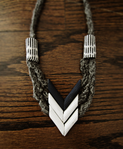 DIY Pasta Chevron Necklace. Tutorial at Design Sponge here. This was originally from evie s. here (more photos, no real tutorial, interesting pasta bracelet).