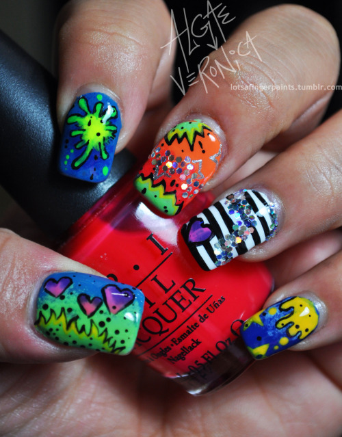 lotsafingerpaints:  I won the Nicki Minaj Nails 4 Life contest by OPI. Fun contest!  Who else? These are amazing!!