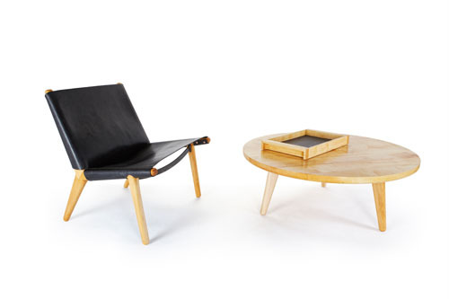 Derek Mcleod Design | Leather Sling Chair, Maple Coffee Table & Maple Drink Tray | 2012