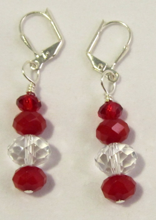 Beautiful Red Crystal Earrings ~ Perfect for Valentine's Day!! <3 http://www.etsy.com/listing/86733020/red-and-clear-crystal-rondelle-dangle