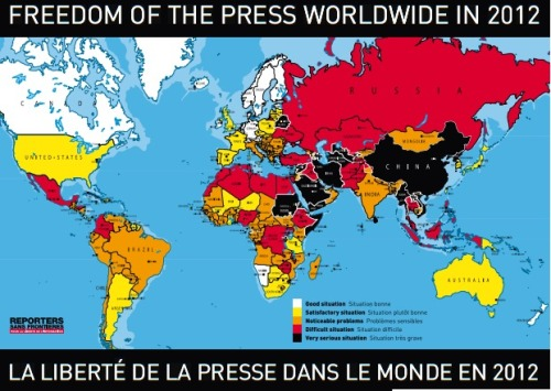 The United States has fallen 27 places in the Press Freedom Index. The reason? The many arrests of journalists covering Occupy protests.