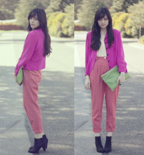 Seen On Blogs: Danielle wears the High-Waist Calvary Twill Pleated Pant in Red.