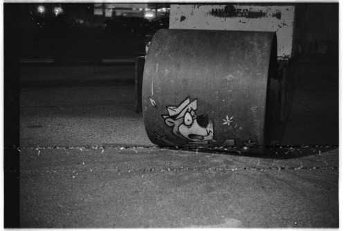 Film Wabi Sabi Late night photo taken outside of MOCA's Graffiti Art exhibit in late 2011. Had some film rolling problems during development but the track marks adds to the look.
