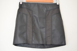 "H&M Black Faux Leather Skirt w/ Suede Trim Size 4 14"" length Retail $29.95 $13"
