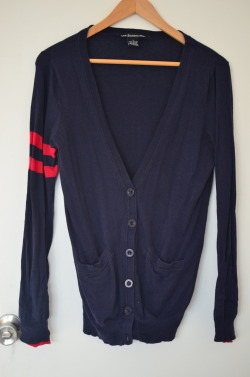 Navy Knit Striped Cardigan Size L Missing button $6