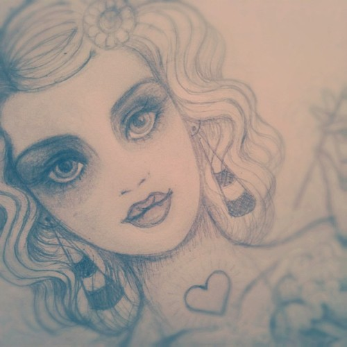 Early #sketch of my piece for #EYAO this Feb. #art #girl  (Taken with instagram)