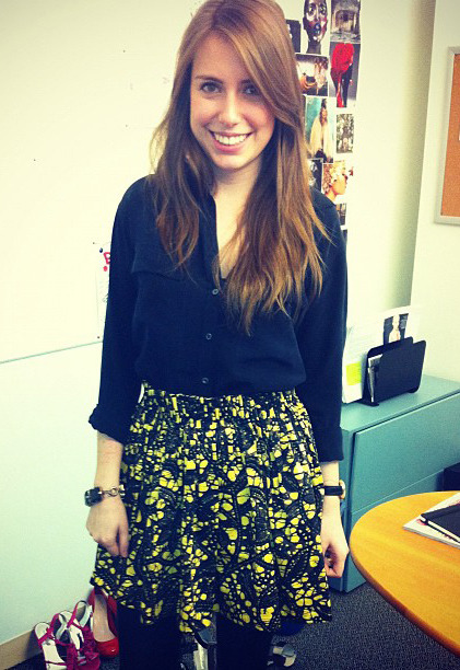 Inside Teen Vogue: Assistant Fashion News Editor Victoria Lewis wears a printed Thakoon skirt and Equipment top.