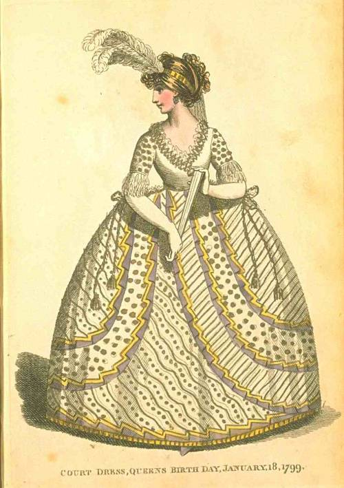 Fashions of London and Paris, Court Dress, January 1799.  Would you EVER believe that this batshit crazy dress was accurate if you saw someone wearing it?  Proof positive that they wore some seriously bizarre gowns back then.