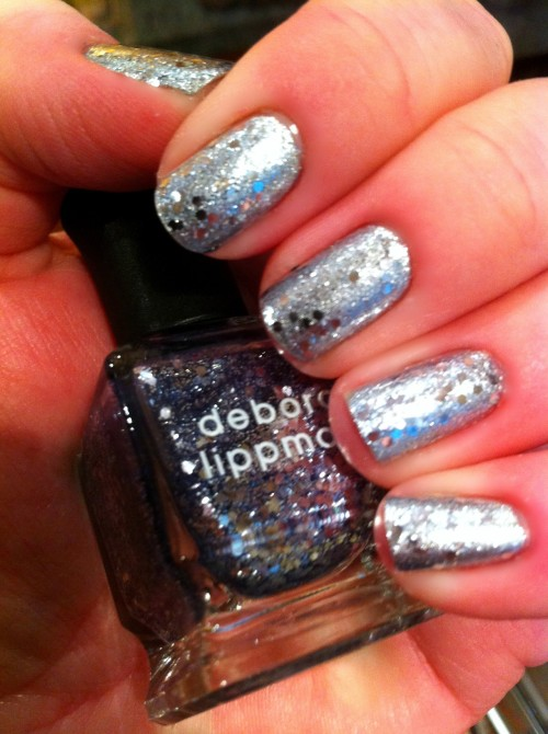 "I've fallen in love!! My new favorite polish is ""Today Was A Fairytale"" an amazing glitter by Deborah Lippmann. I also have a coat of ""DS Radiance"" by OPI under the glitter, another favorite!"
