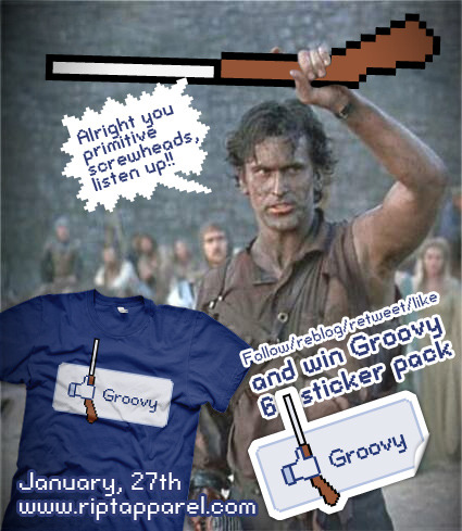 "d4n13ldesigns:  ""Groovy"" by D4N13L RIPT Apparel, January 27th, 24 hours only. Shop RIPT, shop right. You got that? Want some stickers? Follow my tweets @D4N150T0, Like me on FB and follow and reblog this post."