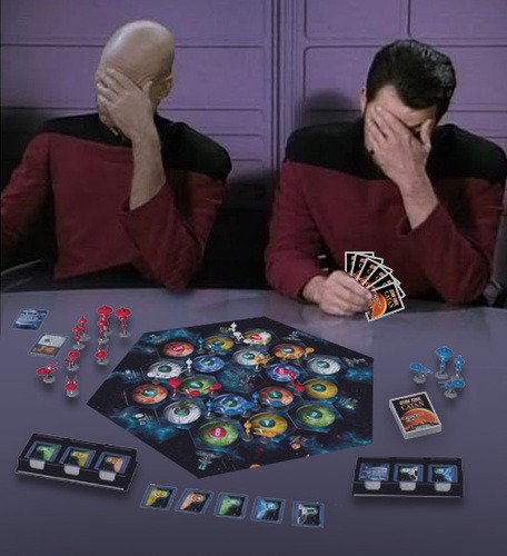 whiskeyandgoatsmilk:  There is now a Star Trek version of Settlers of Catan. According to Board Game Geek  The one new element in Star Trek Catan compared to the Settlers version is a set of character cards, each featuring one of Kirk, Spock, McCoy, Sulu, Scott, Uhura, Chekov, Chapel, Rand or Sarek. Each character card has two special powers that the holder can use on his turn, such as a forced trade.  Comes out in March That means I have a month and a half to act like I didn't pee pee my pants pants when I found out this news.  WELP. BYE BYE LATE 20'S. ITS BEEN NICE KNOWIN YA. SEE YOU GUYS NEVER. Unless you want to come over and play that is.