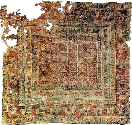 historical-nonfiction:  The oldest surviving carpet is the celebrated Pazyryk carpet, which is over 2,000 years old. It was found in the 1940s in a Scythian tomb in southern Siberia.