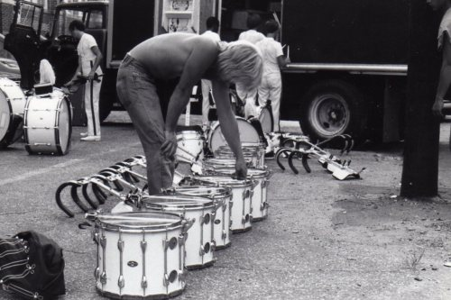 Mr. George Hopkins tuning snare drums back in the 80s.