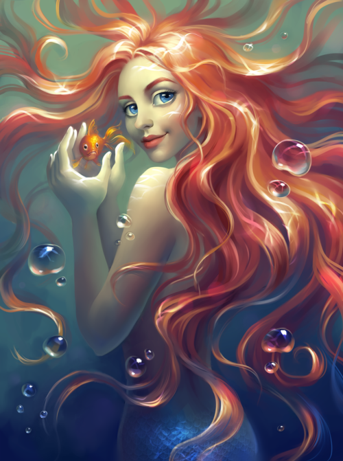 "fairytalemood:  ""Mermaid"" by Elena Berezina"