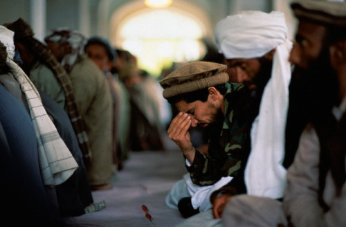 Commandant Massoud Praying at Pol-e Keshti Mosque