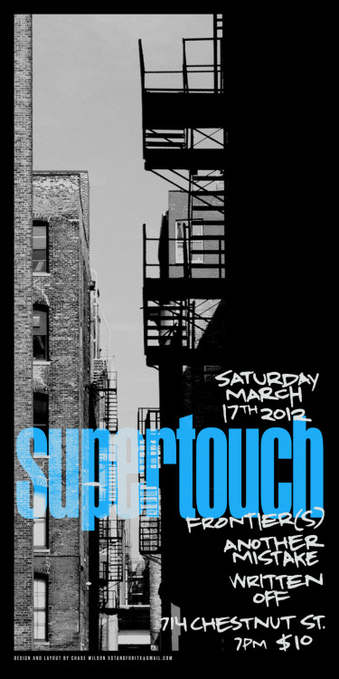 Finished up the two color screen print poster design for the Supertouch house show in Louisville on March 17th. These will be sold at the show. There will be a limited number printed and any left over will be sold online. http://www.facebook.com/events/282252015163281/