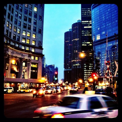 Downtown Chicago on Michigan Avenue. Such a pretty sight at dusk.